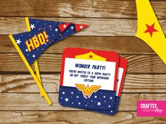 Wonder Woman Party Invitation to print de Craftsydigitalshop en Etsy
