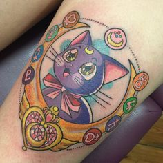 """2,521 Likes, 176 Comments - sarah-k (@sarahktattoo) on Instagram: """"✨❤️✨ Sailor Moon Luna thigh for the lovely Danielle tonight. So much fun! Super swollen & bleedy…"""""""