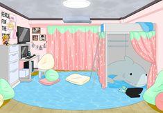 Dorm Layout, Dorm Room Layouts, Dorm Rooms, Ideas Habitaciones, Bedroom Drawing, Anime Boy Sketch, Dorm Design, Episode Interactive Backgrounds, Girl Dorms