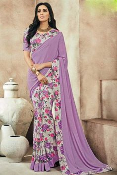 Purple and cream crepe saree with crepe blouse online\ http://www.andaazfashion.co.uk/womens/sarees/crepe