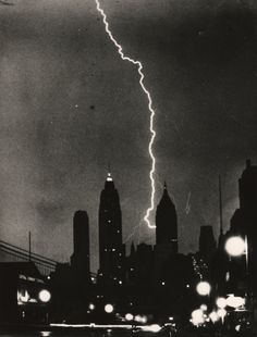 Weegee (Arthur Fellig), Bolt of lightning apparently striking the Bank of Manhattan Trust Building, City of New York, July 27, 1940