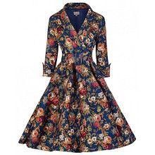 Swing Vivi jurk donker blauw met bloemen print - Vintage, 50's, Rockabilly, retro