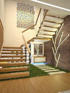 4 Bedroom Modern Home Design with Interior in 3100 Sqft - Free Kerala Home Plans Staircase Interior Design, Home Stairs Design, Home Building Design, Bungalow House Design, Railing Design, Modern Stairs Design, House Outer Design, House Front Design, Houses Architecture