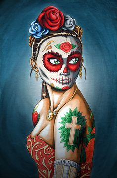 8 x 10 Matted Day of the Dead Girl Art Print by NicholasIvins