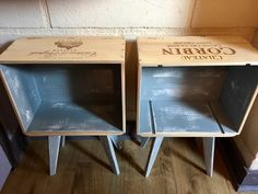 Original wine crate boxes turned into table-shelves