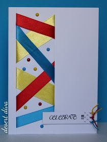 handmade card from the desert diva: Celebrate with ribbons ... luv the silky ribbon wrap on the side panel ... sprinkling of enamel dots to match the festive colors ...