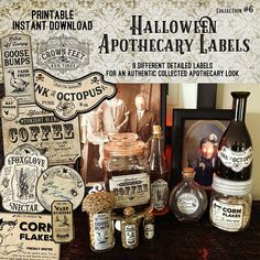 Vintage Look Witch Potion Labels Halloween Apothecary Labels