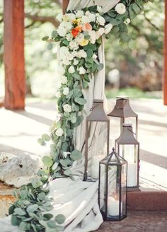 Wedding ceremony decorations alter lanterns Ideas for 2019 Trendy Wedding, Floral Wedding, Wedding Styles, Rustic Wedding, Wedding Flowers, Dream Wedding, Cortina Floral, Rustic Lanterns, Wedding Inspiration