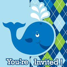 """These die-cut gatefold-style invitations are printed with the playful whale from the decorations, and that recognizable blue/green argyle pattern.  Ocean Preppy Boy Generic Birthday invites say """"You're Invited!"""" on the front"""