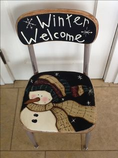 chairs painted for xmas with snowmen on then Christmas Chair, Primitive Christmas, Christmas Snowman, Winter Christmas, Whimsical Christmas, Snowman Crafts, Christmas Projects, Holiday Crafts, Hand Painted Chairs
