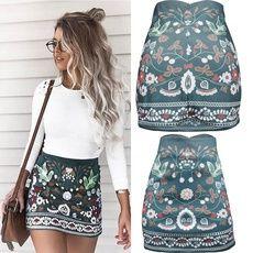 Summer Skirts HOT Summer Women Elastic High Waist Mini Skirts Casual Green Print Mini A-lined Skirts - Hot Products Mini Skirt Dress, A Line Mini Skirt, Floral Mini Skirt, Pleated Skirt, Casual Skirts, Short Skirts, Mini Skirts, Women's Skirts, Dress Casual