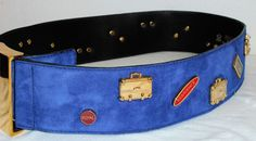ESCADA Vintage Suede Belt 40 10 Leather Purple Royal Blue Gold Charms Travel