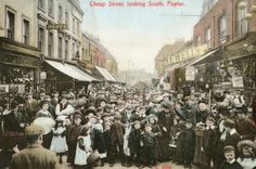 Chrisp Street, Poplar, Street ran for half a mile and was crammed with shops, barrows and stalls. Here, locals are keen to feature on a new postcard by Stengel Co Vintage London, Old London, Victorian London, Street Run, Street View, Abc Cinema, Rhyming Slang, Family Tree With Pictures, London History