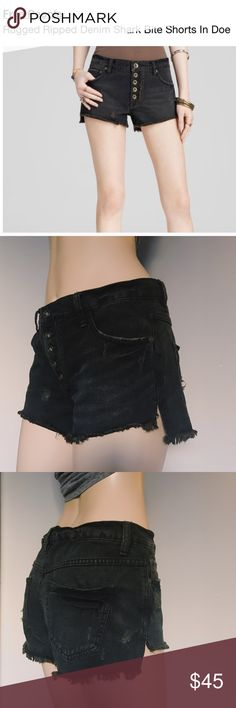 "Free People | Black Denim Shorts 🖤 Gently worn shark bite cutoff shorts from Free People. Slouchy fit distressed black jean shorts with an exposed button fly! These shorts are perfect staple for back to school or festival season!! ☀️  To ensure proper fit, please review measurements.  Tag Size: 26w Waist: 33"" Rise: 9"" 🖤🌹OPEN TO OFFERS 🌹🖤 Free People Shorts Jean Shorts"