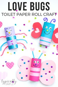 This Valentine's Day toilet paper roll craft is sure to be a hit with the kids! Create a whole colony of love bugs using basic craft supplies - perfect for a classroom party! #kidspiration #valentinesdaycraft #craftsforkids