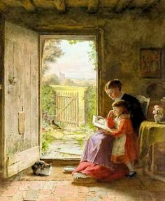 The reading lesson, 1889 by George Hardy