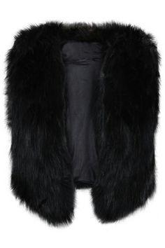 Faux Fur Sleeveless Black Vest