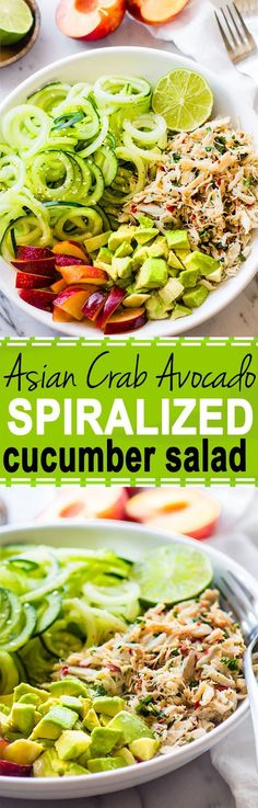 Healthy Asian Crab and Avocado Spiralized Cucumber Salad. Seafood lovers rejoice! You'll love this Power Lunch Paleo Asian Crab and Avocado Cucumber Salad! Light, Gluten Free, protein packed, and nutrient dense!! /Lindsay/ - Cotter Crunch