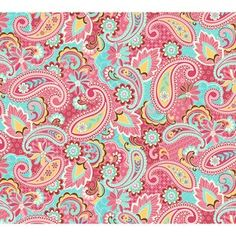 FLANNEL | Quilter's Flannel Paisley Fabric | Pink/Blue