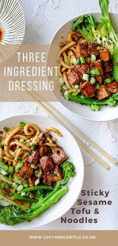15 Minute Sesame & Garlic Glazed Tofu - Lucy & Lentils