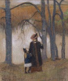 """""""Wife and Daughter"""" 1905 - """"Vaimo ja tytär"""" - pastelli paperille - Järnefeltin vaimo Saimi oli Sibeliuksen puolison Ainon sisko.Ystävykset Järnefelt ja Sibelius tekivät yhdessä pitkiä kävelyretkiä ja pohtivat taiteen ja elämän ongelmia.Järnefeltin teoksia on nähtävissä.Tuusulanjärven taiteilijayhteisö alkoi Sibeliuksen osalta olla lopullisesti menneisyyttä 1930-luvulla: viimeisenä lähimmistä taiteilijaystävistä kuoli Eero Järnefelt 1937."""