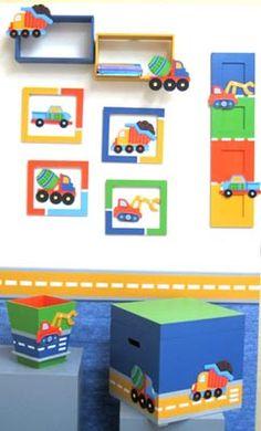 DORMITORIO NIÑOS ( JUGUETERA - BASURERO - PORTARETRATOS - CUADRO - REPISA) Class Decoration, School Decorations, Baby Boy Nursery Decor, Baby Decor, Boy Room, Kids Room, Home Crafts, Crafts For Kids, Country Paintings