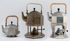 PETER BEHRENS Secessionist tea kettles, two on stands, one electric, for AEG, Berlin.
