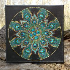 Peacock Mandala Painting, 12 x12 inch Stretched Canvas, Dot Painting, Peacock Feathers, Original Art by Kaila Lance, Dot Mandala Painting by KailasCanvas on Etsy