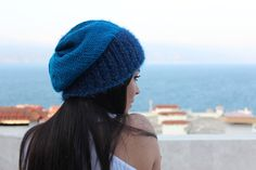Hand knitted petrol blue women's hat, dark blue sparkling edge and lines, slouchy beanie, winter accessories, blue women's head wear Red Berets, Decorative Lines, Slouchy Beanie, Winter Accessories, Beige Color, Hats For Women, Hand Knitting, My Hair, Dark Blue