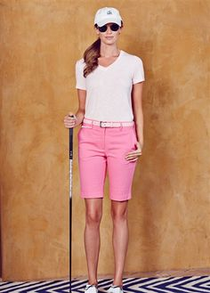 Lizzie Driver Beautiful Day V-Neck Tee and Pink Bermuda Golf Short available at #golf4her.com #spring15