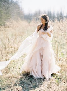 blush pink wedding gown inspiration http://weddingsparrow.co.uk/2014/07/15/blush-pink-wedding-dress-inspiration/