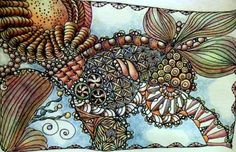 Color tutorial for adding depth with color pencils to Zentangle ...