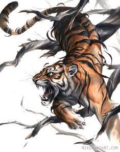 The Art Of Animation — Michael Manomivibul - . Body Art Tattoos, Tattoo Drawings, Sleeve Tattoos, Hand Tattoos, Big Cats Art, Cat Art, Japanese Tiger Tattoo, Japanese Tiger Art, Tiger Artwork
