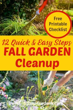 Stop by Gingham Gardens for some practical and easy tips to get your flower gardens and vegetable gardens all cleaned up for winter. Answers the questions, should I clean up my gardens in the Fall, or wait until Spring; why clean up gardens in the Fall; should I cut down my perennials in the fall, etc. Includes a free, handy, printable Fall Garden Clean Up Checklist to keep you organized and on track. Fall Perennials, Flowers Perennials, Vegetable Garden Tips, Container Gardening Vegetables, Autumn Garden, Spring Garden, Fall Crops, Fall Clean Up, Garden Maintenance