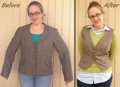 Plaid Blazer to Vest - Before & After by nosmallfeet, via Flickr February 2014