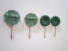 Gorgeous green retro vintage hair slides