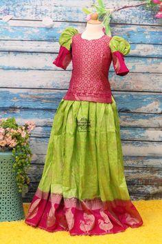 Indian Girls pavada Pattu Langa for kids Indian Kids Girl Long Frocks For Kids, Frocks For Girls, Dresses Kids Girl, Girls Frock Design, Long Dress Design, Kids Frocks Design, Kids Lehenga, Lehenga Choli, Sarees