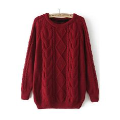 Cable Knit Loose Wine Red Sweater (€14) ❤ liked on Polyvore featuring tops, sweaters, shirts, red, long sleeves, extra long sleeve shirts, wine red shirt, cable knit sweaters, red shirt and red cable knit sweater