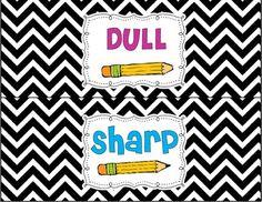 FREEBIE: Pencil labels include Dull and Sharp. Classroom Labels, Classroom Setup, Classroom Design, Kindergarten Classroom, Future Classroom, School Classroom, Teaching Displays, Teaching Tools, Teaching Ideas