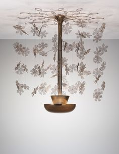 Paavo Tynell; Brass and Painted Metal 'Fantasia' Ceiling Light for Taito Oy, c1956.