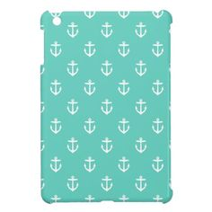 Aqua Cute Anchors iPad Mini Case