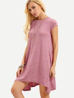 Vestido manga capa asimétrico -rosa
