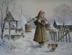 Painting «Not titled Vintage Images, Vintage Art, I Love Snow, Winter Scenery, Nature Drawing, Horse Art, Red Riding Hood, Painting & Drawing, Vintage Christmas