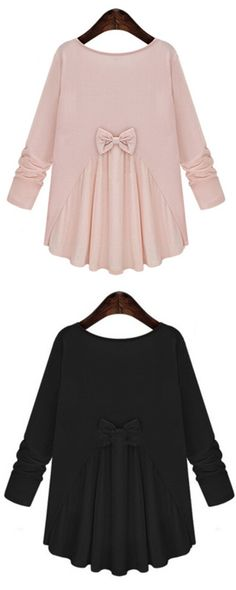 Pink Round Neck Long Sleeve Bow Loose Blouse - cute styles - Fall Fashion