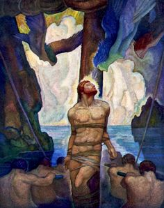 """The Sirens. Illustration by N. C. Wyeth from """"The Odyssey of Homer"""" (1929)"""