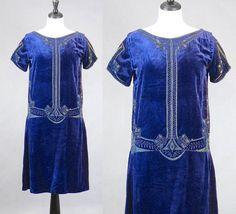 1920s Flapper Dress Sapphire Blue Beaded Velvet 20s Dress
