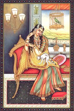 The Princess, Mughal Watercolor on PaperArtist: Kailash Raj Indian Art History, Ancient Indian Art, Indian Art Gallery, Indian Artwork, Mughal Paintings, Indian Art Paintings, Indian Traditional Paintings, Rajasthani Painting, Middle Eastern Art