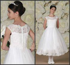 Tea Length Flower Girl Dresses Children Birthday Dress Lace Applique Ball Gown Kids Wedding Party Dresses 0628-31