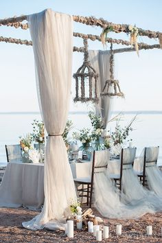 Seaside inspired tablescape.  Fabulous Occasions + D&D Floral Designs, Inc.  | Photography by: Krista Fox.