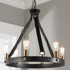 Leather Strap Mixed Metals 6 Light Chandelier